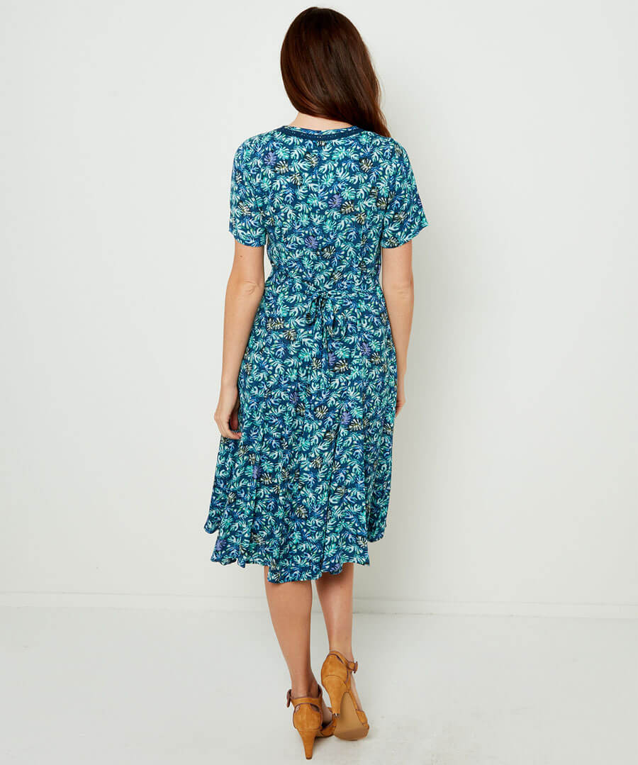 Delicious Palm Print Dress Model Back
