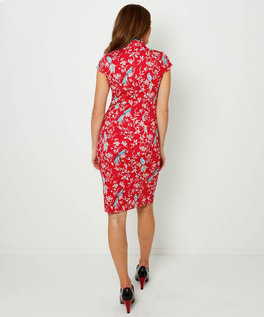 Elegant Mandarin Collar Dress Model Back