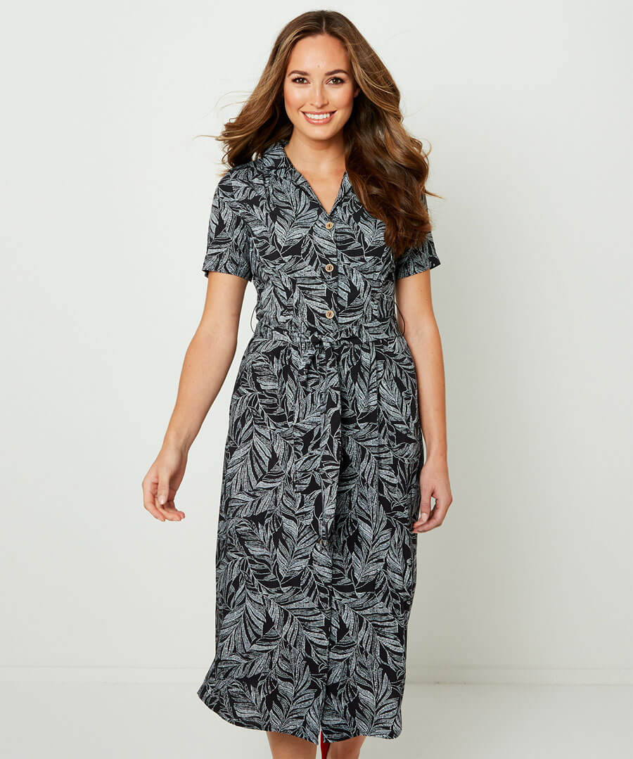Leafy Shirt Dress Model Front