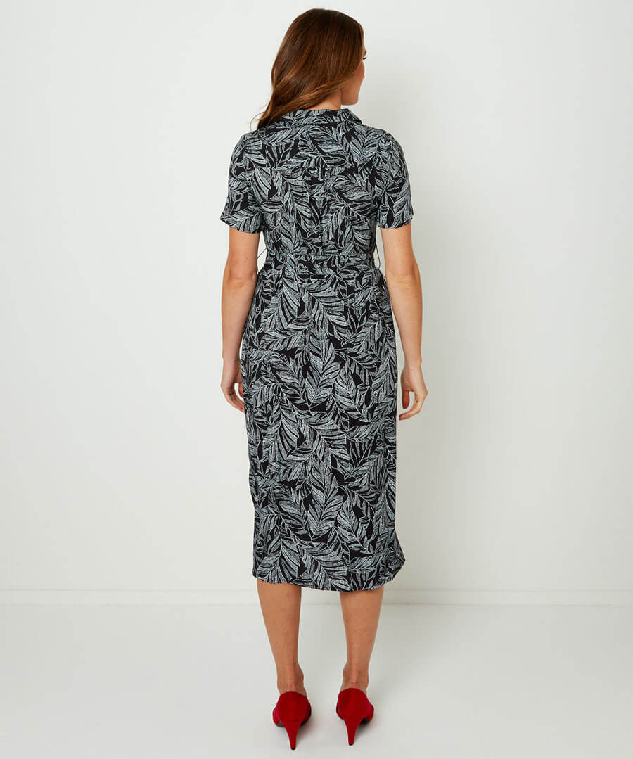 Leafy Shirt Dress Model Back