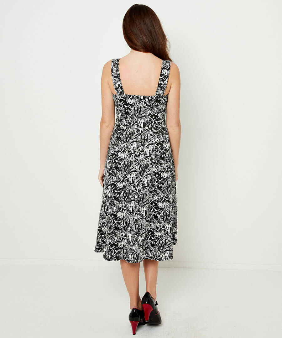 Monochrome Button Through Dress Model Back