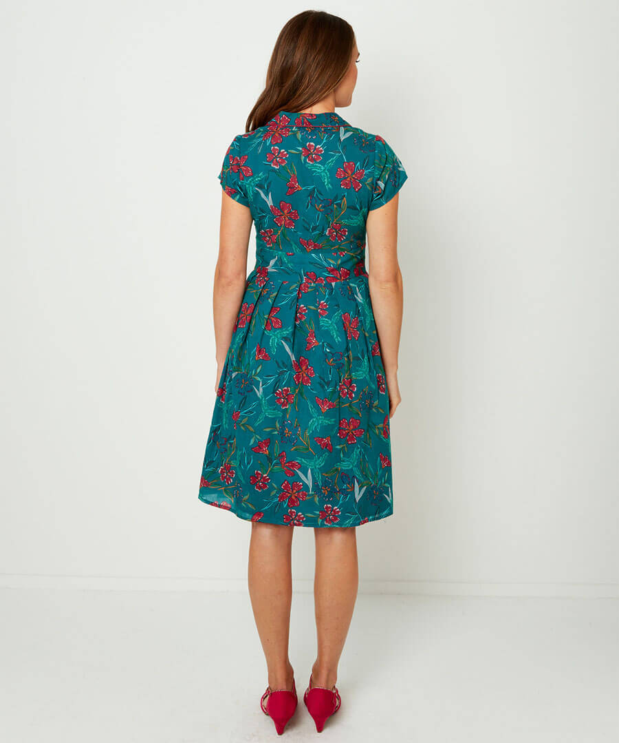 Printed Shirt Dress Model Back