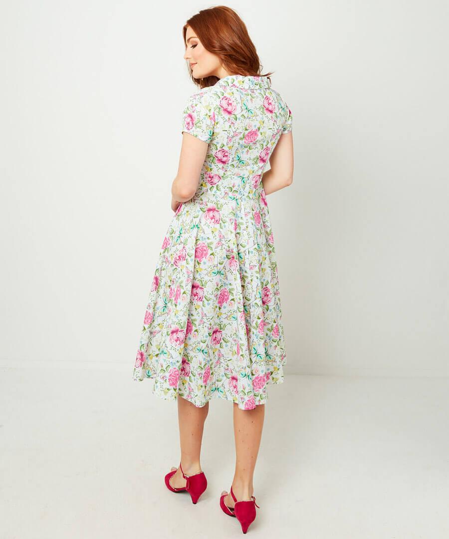 Floral Butterfly Dress Model Back