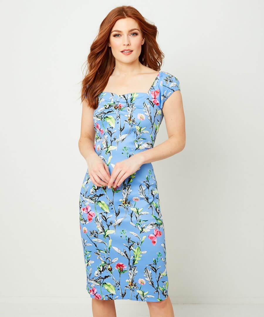Vintage Floral Fitted Dress