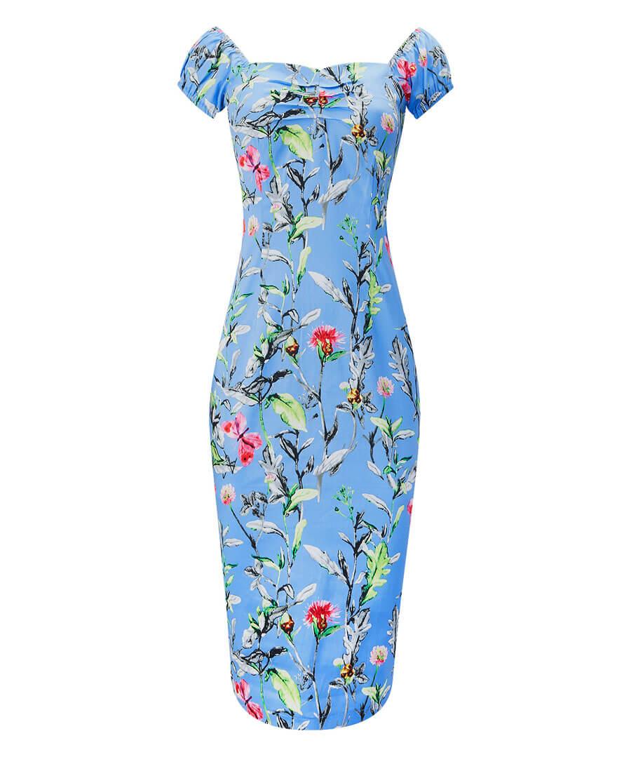 Vintage Floral Fitted Dress Model Front