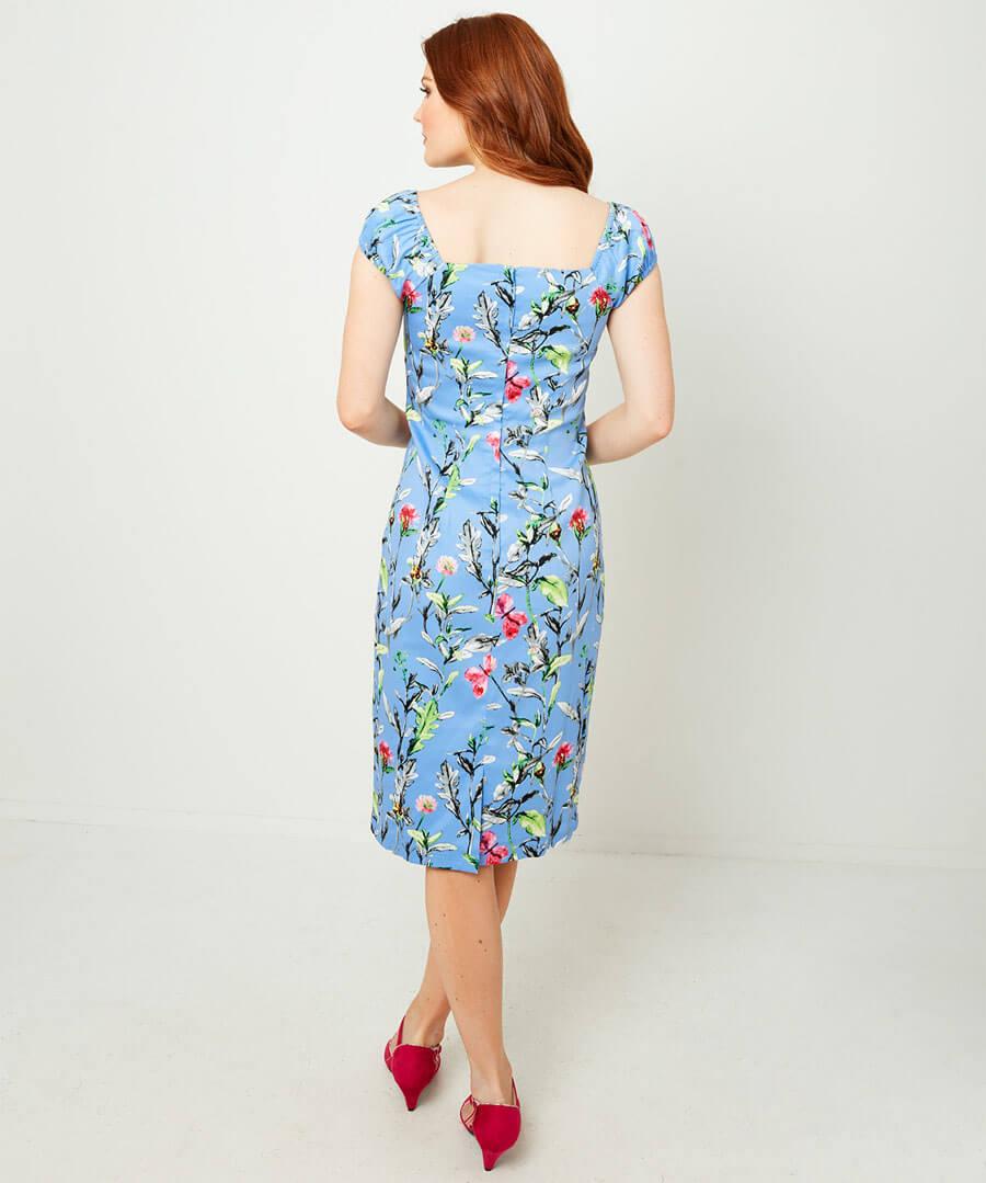 Vintage Floral Fitted Dress Model Back