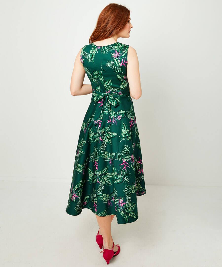 Full Skirted Vintage Dress Model Back