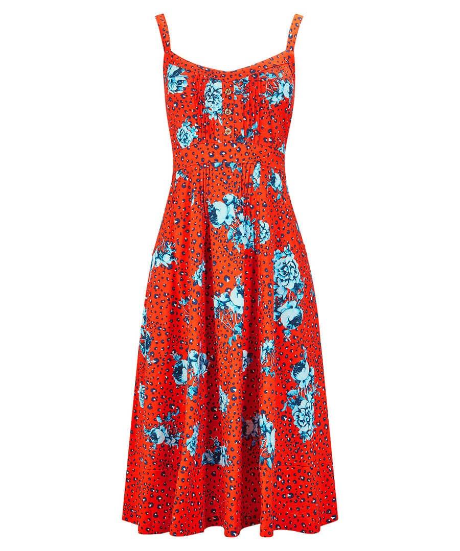 Red Leopard Dress Model Front