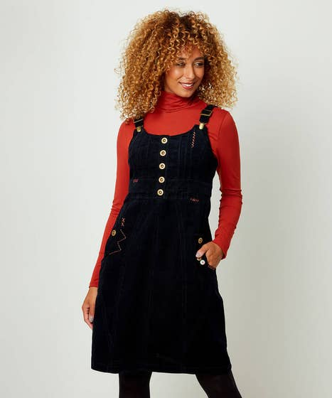 Unique Cord Pinafore Dress