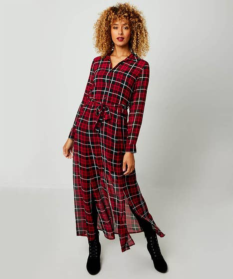 Chiffon Check Dress