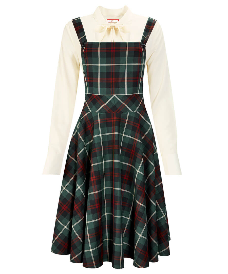 Vintage Style Dresses | Vintage Inspired Dresses Check Pinafore Dress $55.00 AT vintagedancer.com