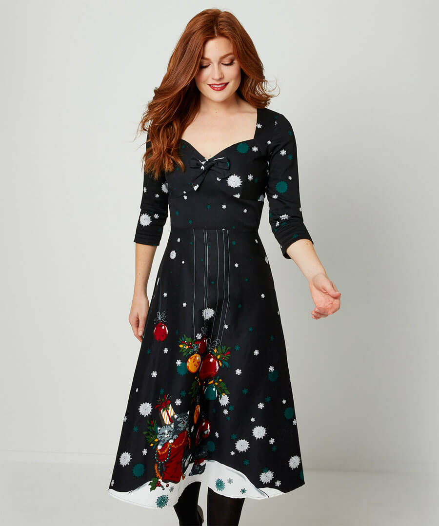 1950s Style Clothing & Fashion Playful Cat Dress $55.00 AT vintagedancer.com