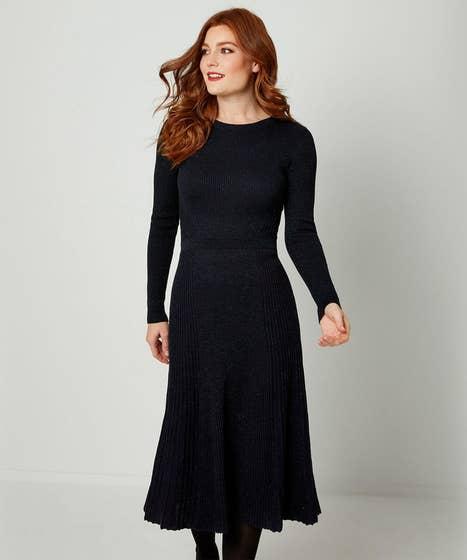 Sparkle Knitted Dress Dark Navy (10)