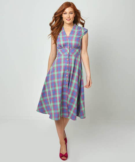 Vintage Shirtwaist Dress History Cheerful Checked Dress $68.00 AT vintagedancer.com