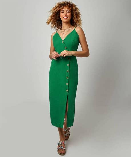 Asymmetric Button Down Dress
