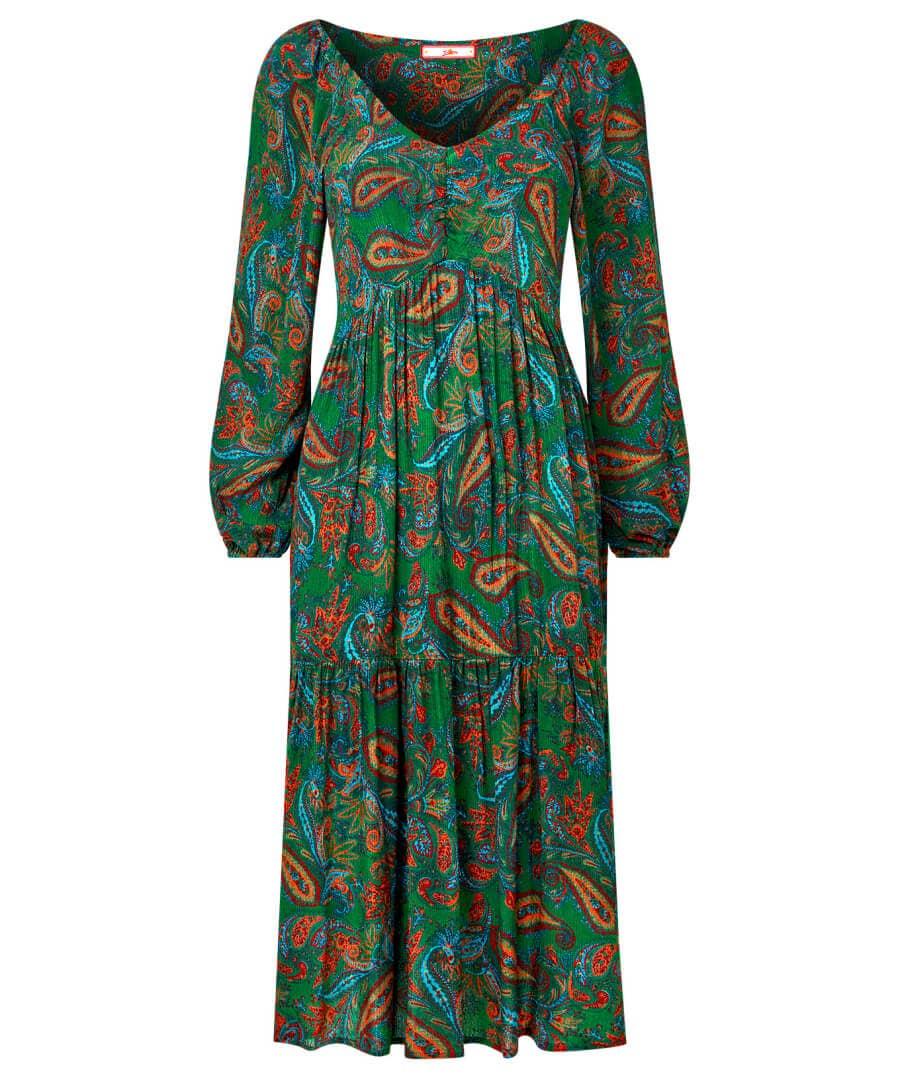 60s Dresses | 1960s Dresses Mod, Mini, Hippie Peacock Paisley Print Dress $70.00 AT vintagedancer.com