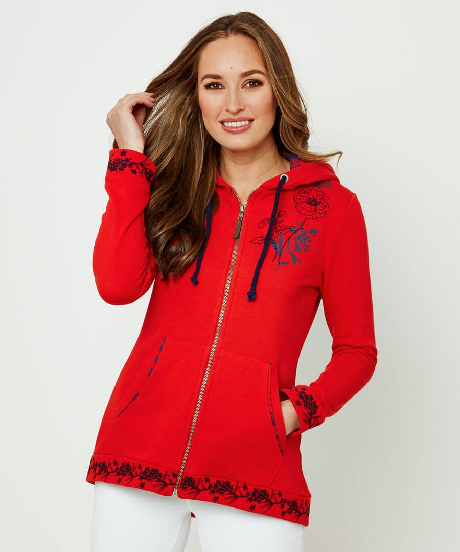 Embroidered Hoody Model Front
