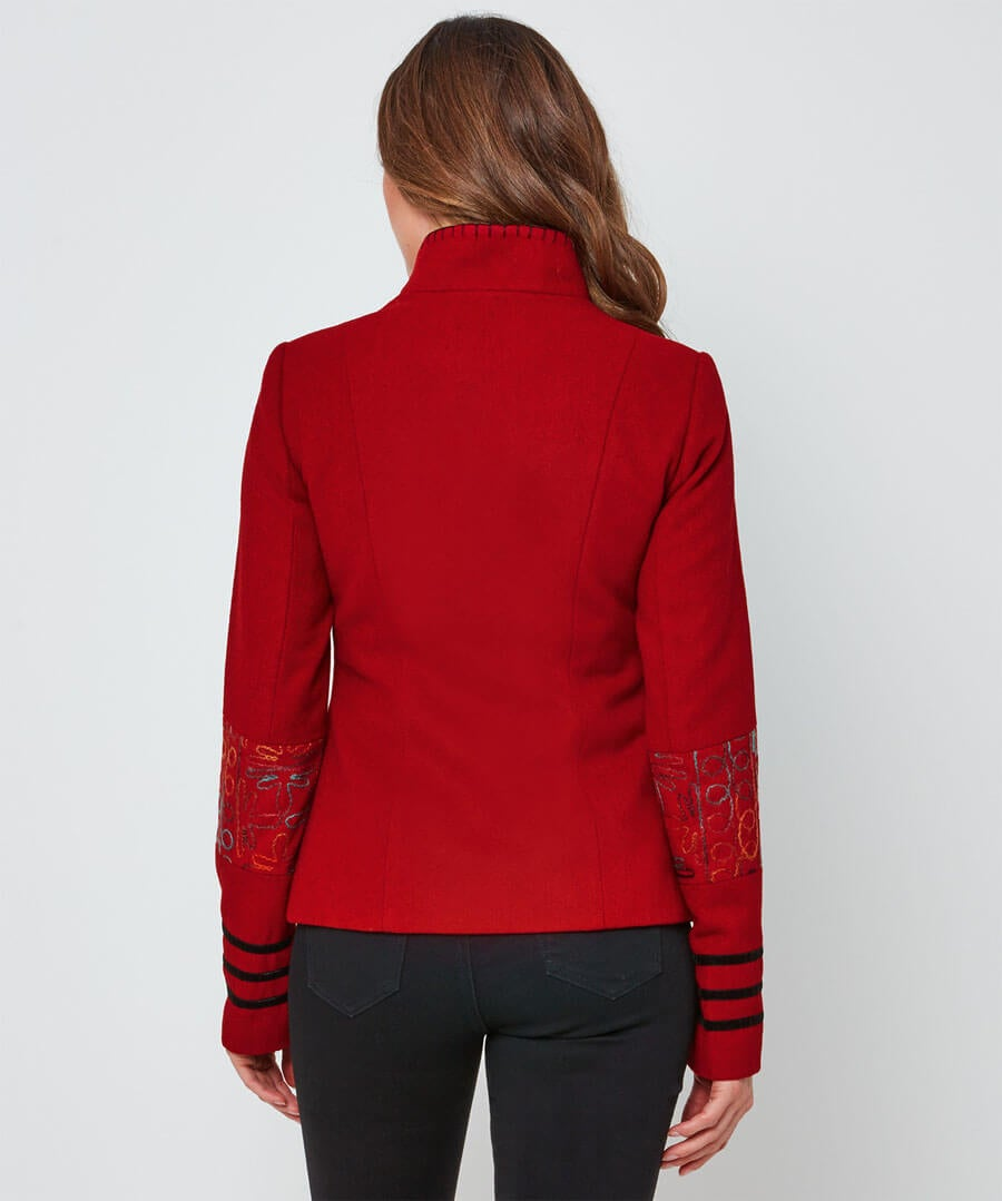 Quirky Embroidered Jacket Model Back