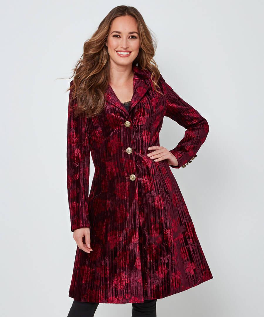 Joe Browns Womens Floral Print Crushed Velvet Coat