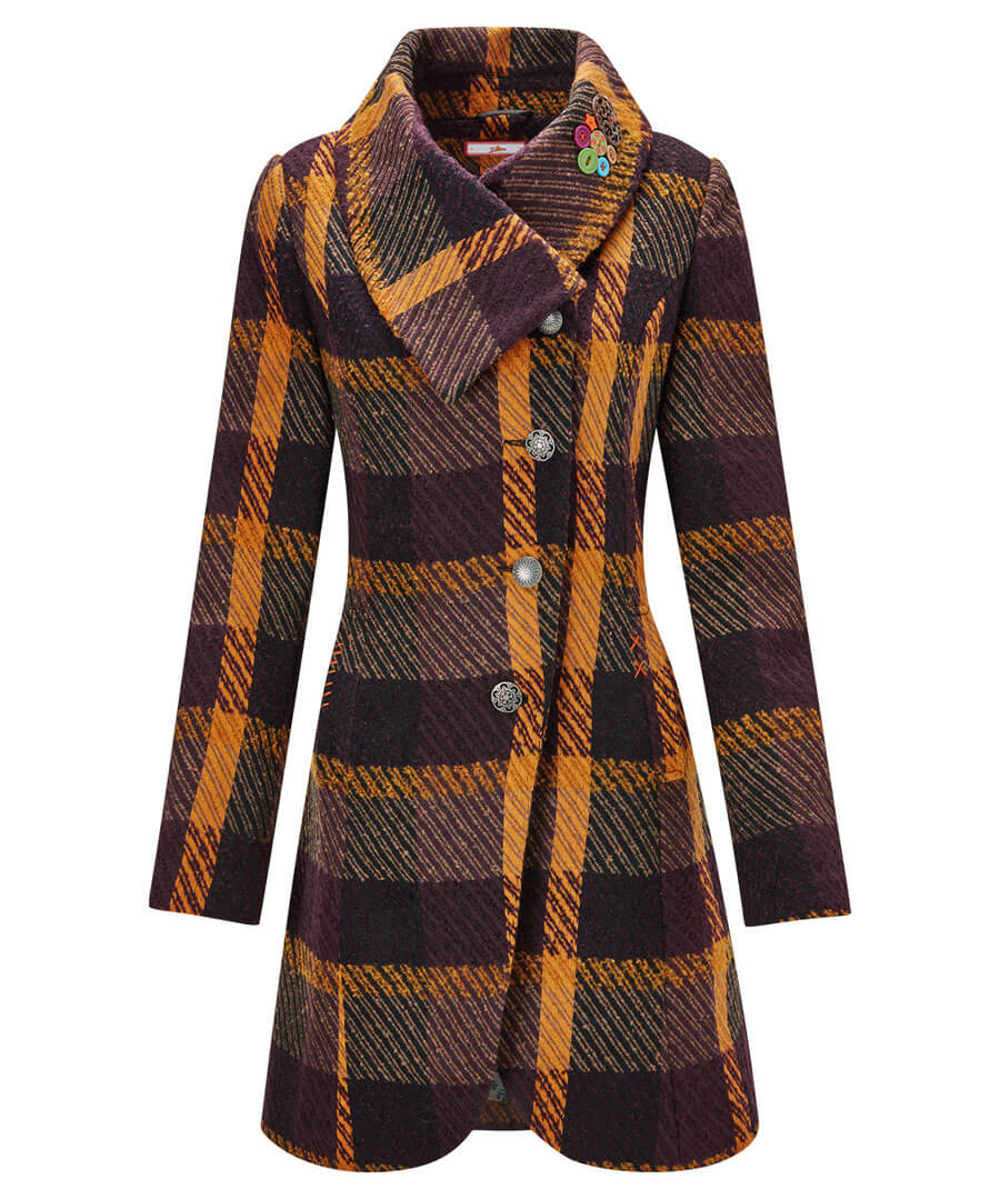 Asymmetic Collar Coat Model Front