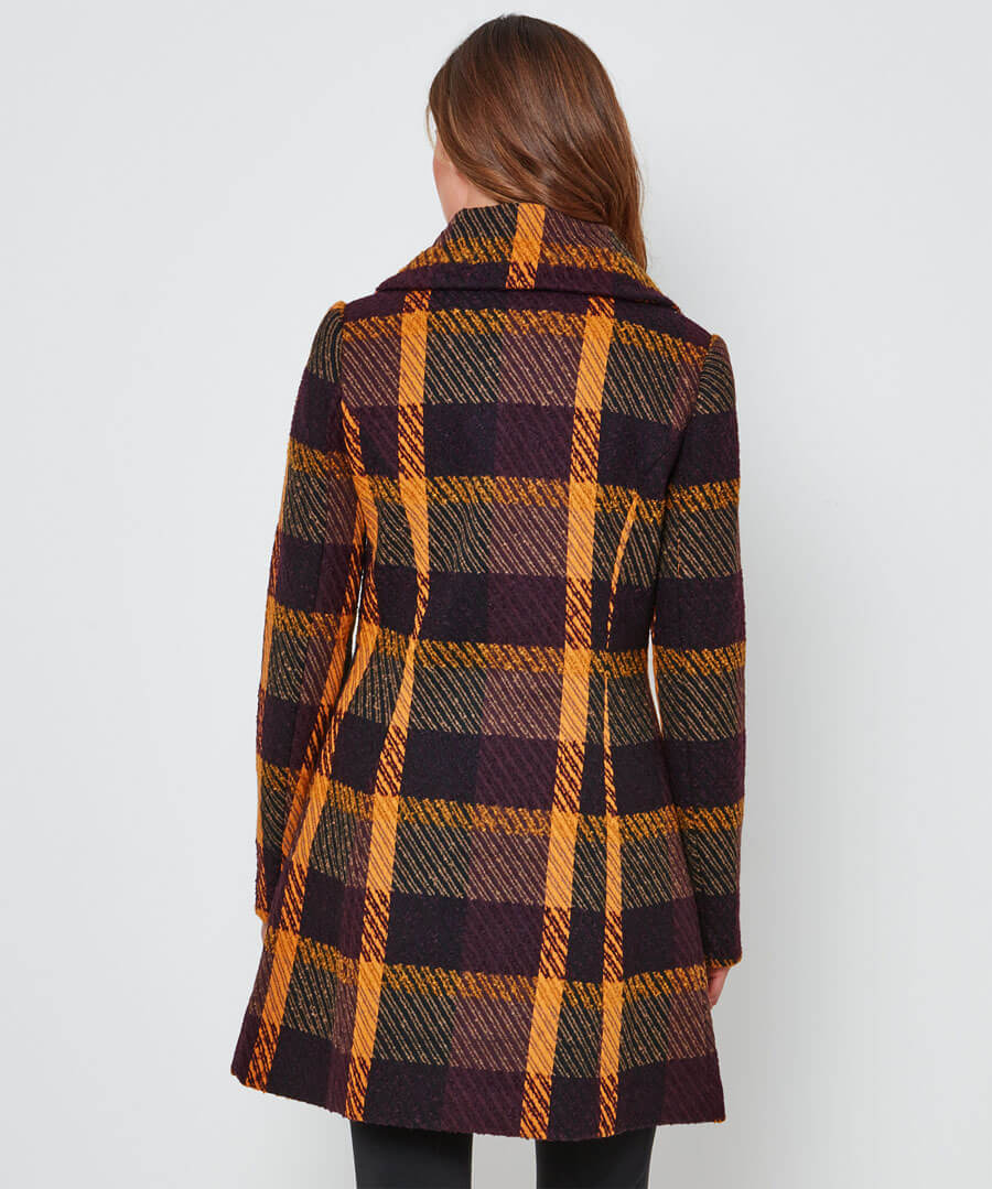 Asymmetic Collar Coat Model Back
