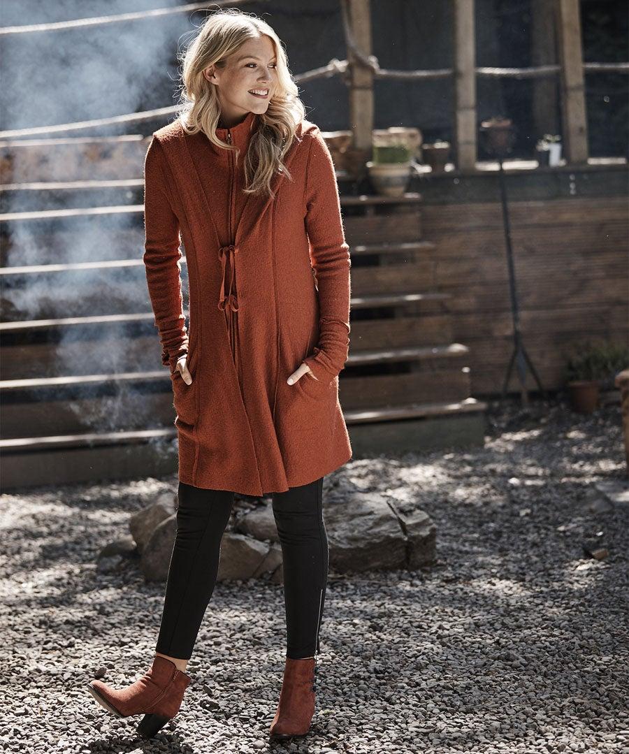 Vibrant Boiled Wool Blend Jacket Model Front
