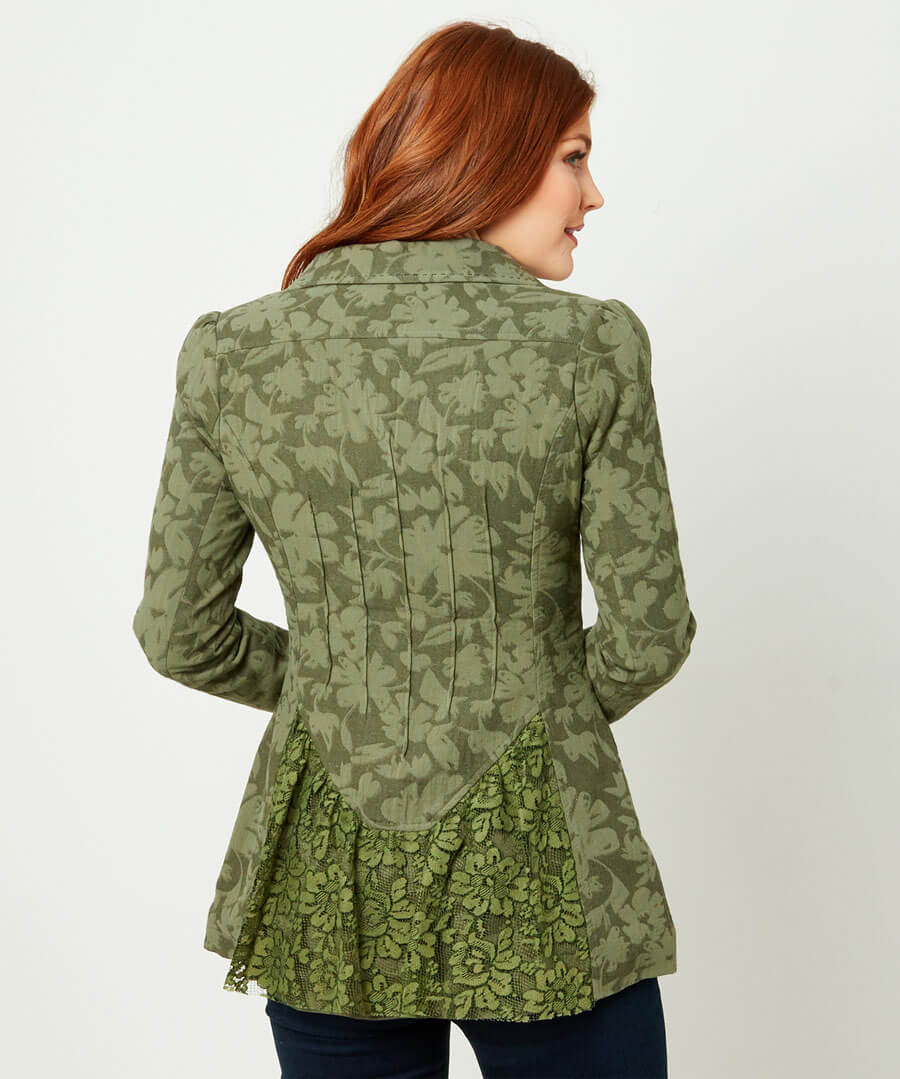 Green Garden Jacket Model Back