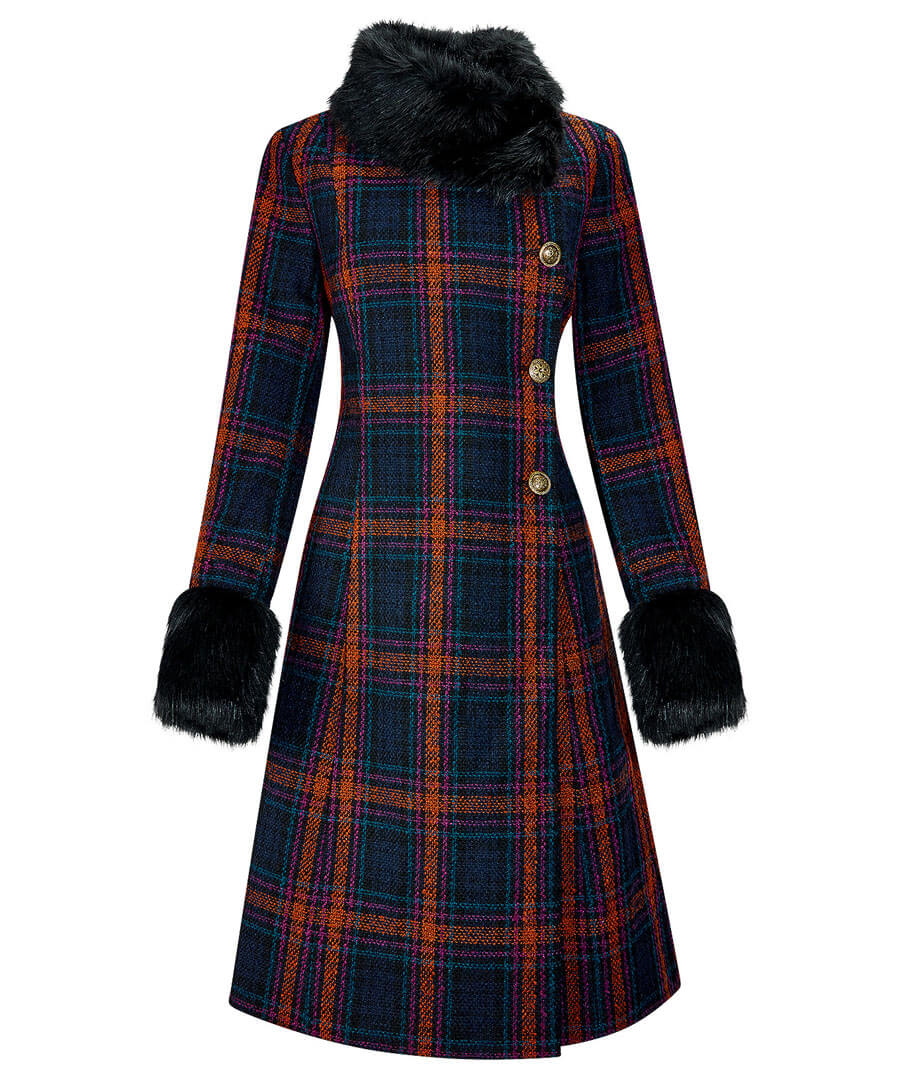 1930s Dresses, Shoes, Clothing in the UK Faux Fur Collar Coat $90.00 AT vintagedancer.com