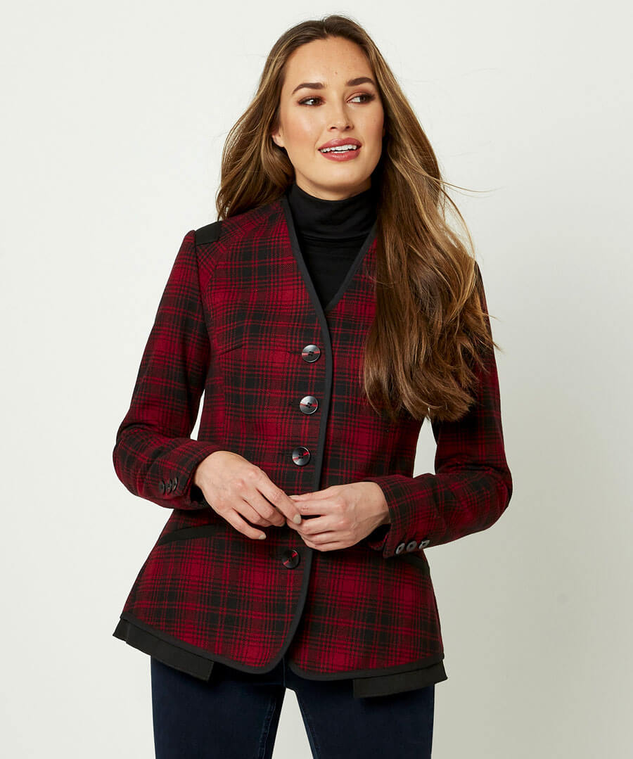 1940s Coats & Jackets Fashion History Sophisticated Check Jacket $75.00 AT vintagedancer.com