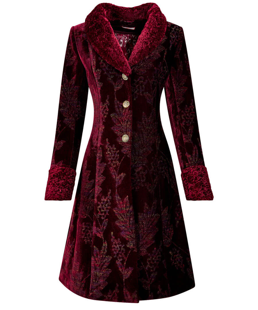 1950s Jackets, Coats, Bolero | Swing, Pin Up, Rockabilly Jacquard Velvet Coat $120.00 AT vintagedancer.com