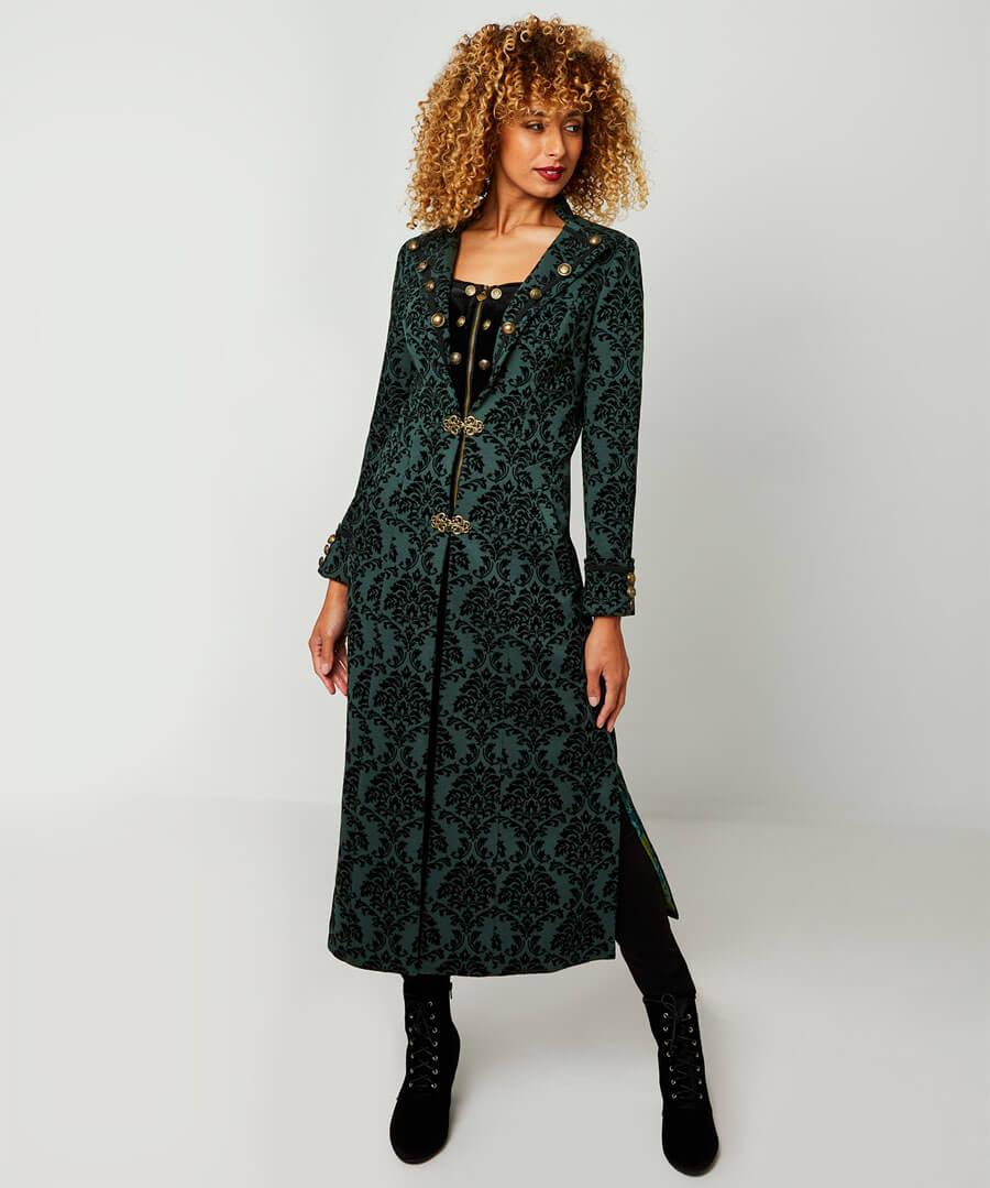 Vintage Coats & Jackets | Retro Coats and Jackets Fabulously Flocked Longline Coat $128.00 AT vintagedancer.com