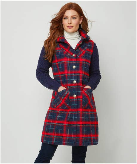 Cosy Check And Knit Coat