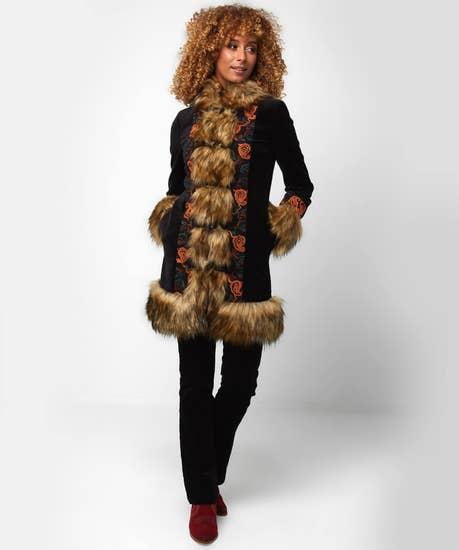 Funky Faux Fur Collar Coat