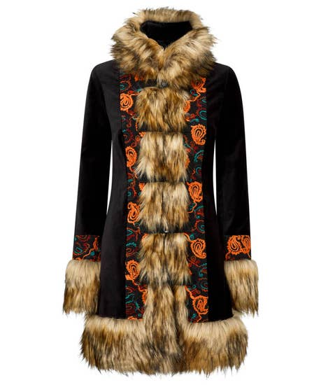 70s Jackets, Furs, Vests, Ponchos Funky Faux Fur Collar Coat $126.00 AT vintagedancer.com