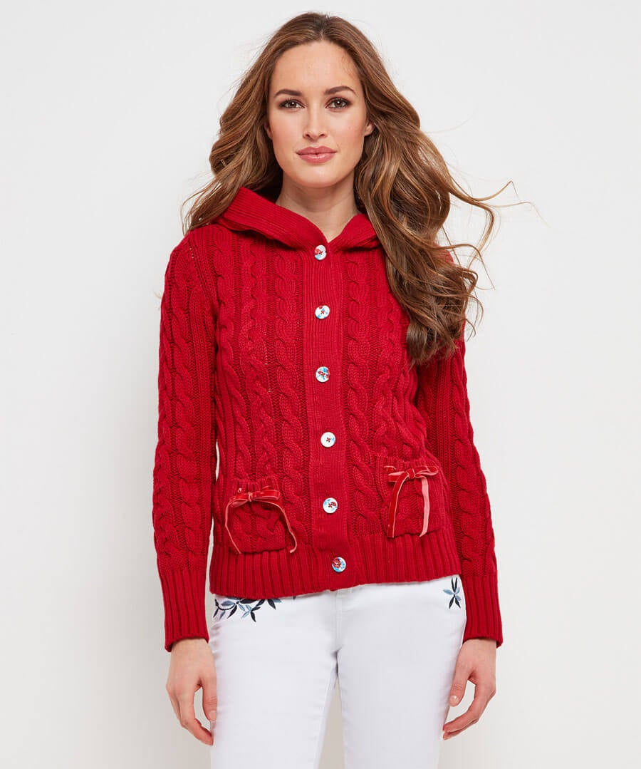 Chunky Cable Cardigan Model Front