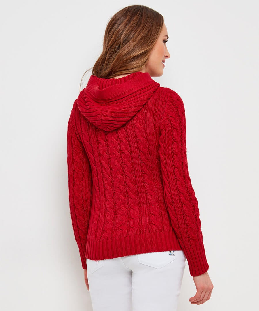 Chunky Cable Cardigan Model Back