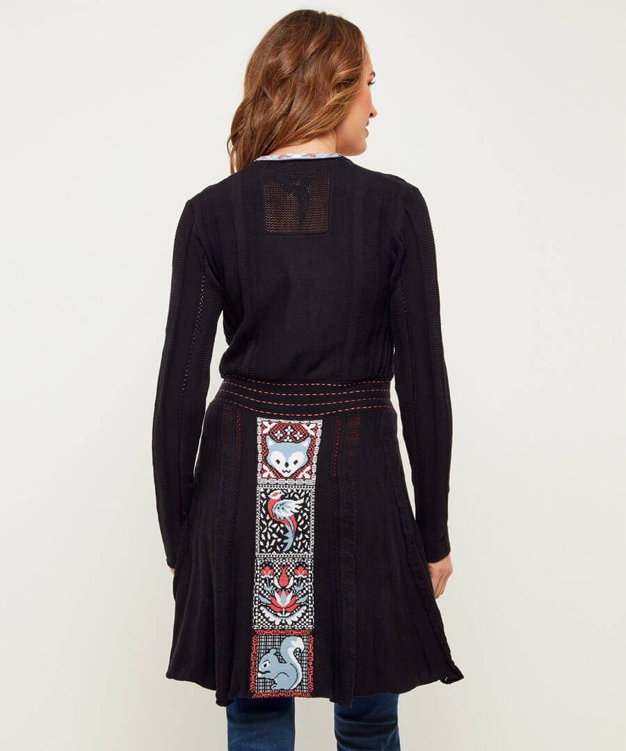 Woodland Longline Cardigan Model Back