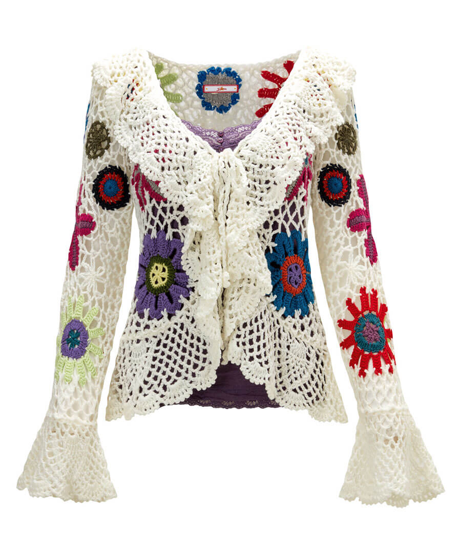Quirky Crochet Cardigan Model Front