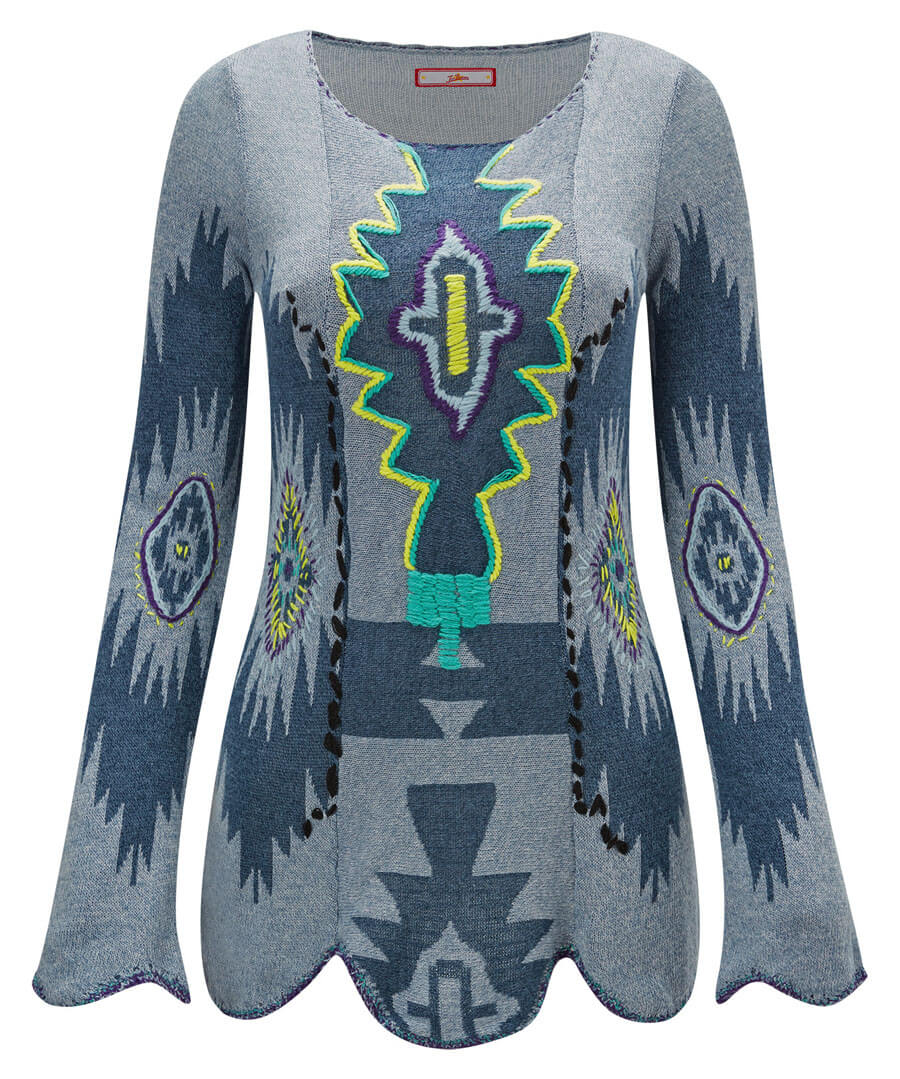 Peruvian Embroidered Knit Model Front