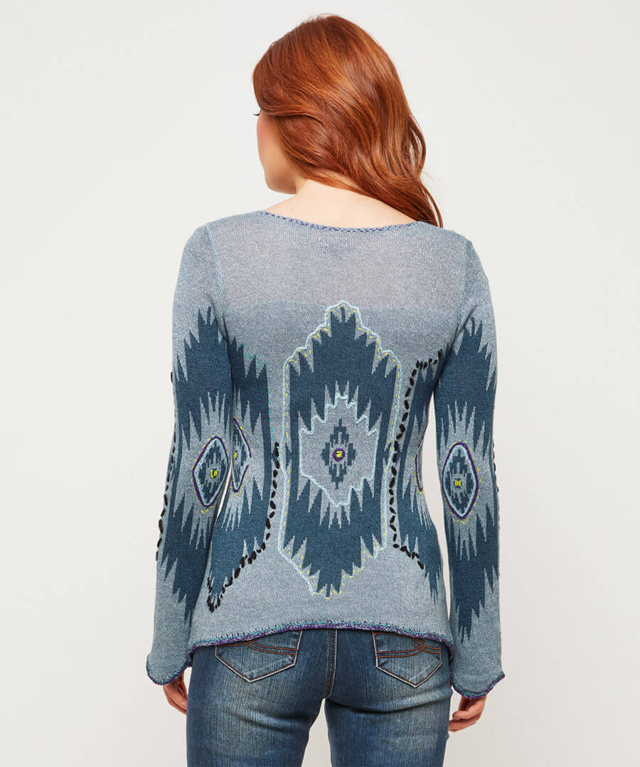 Peruvian Embroidered Knit Model Back