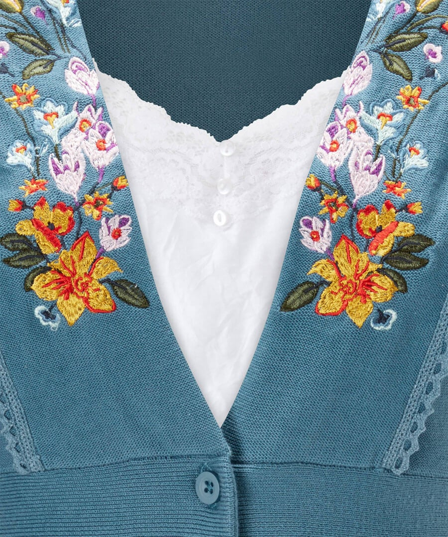 Embroidered Summer Cardigan Back