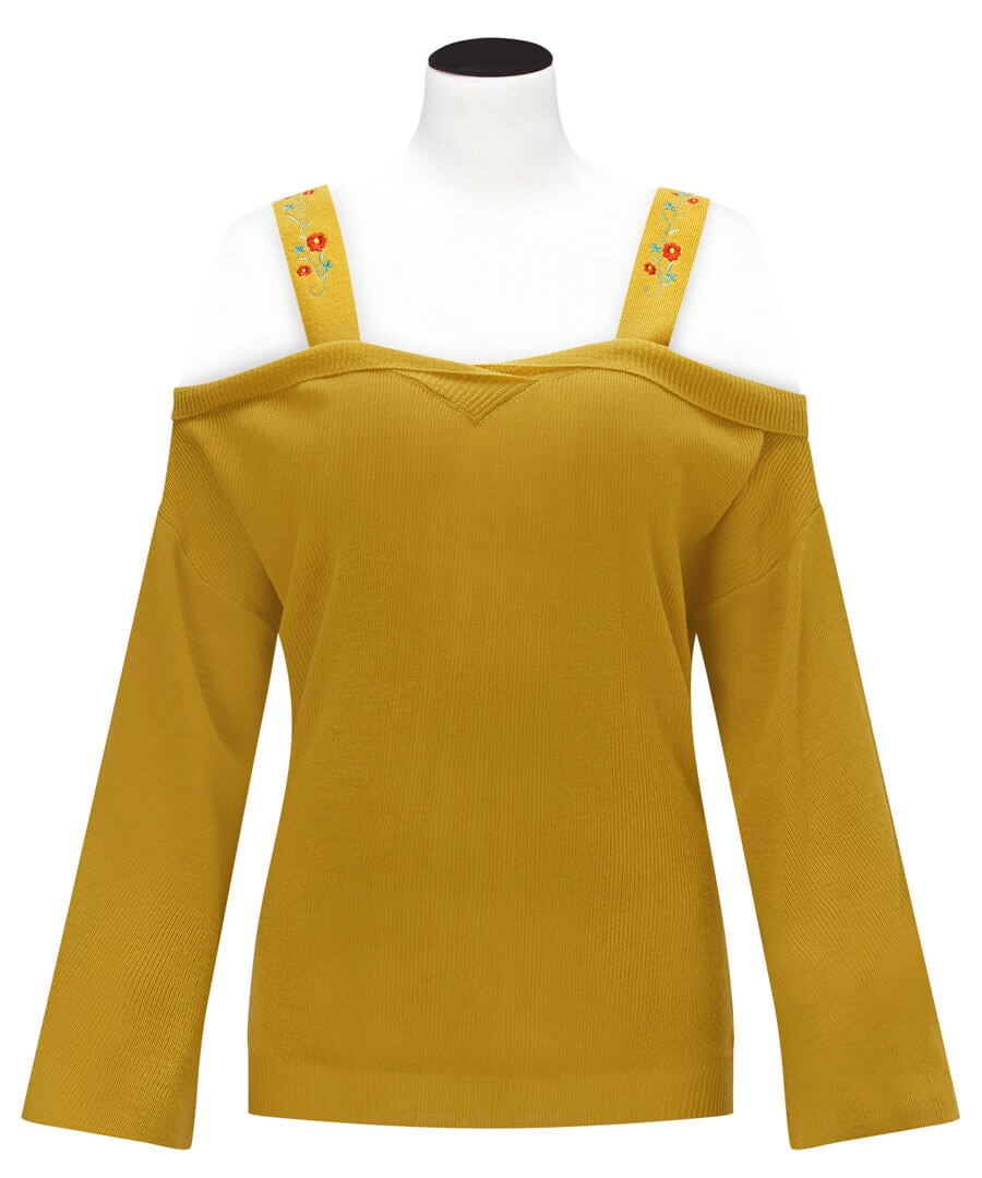 Unique Strappy Knit Model Front
