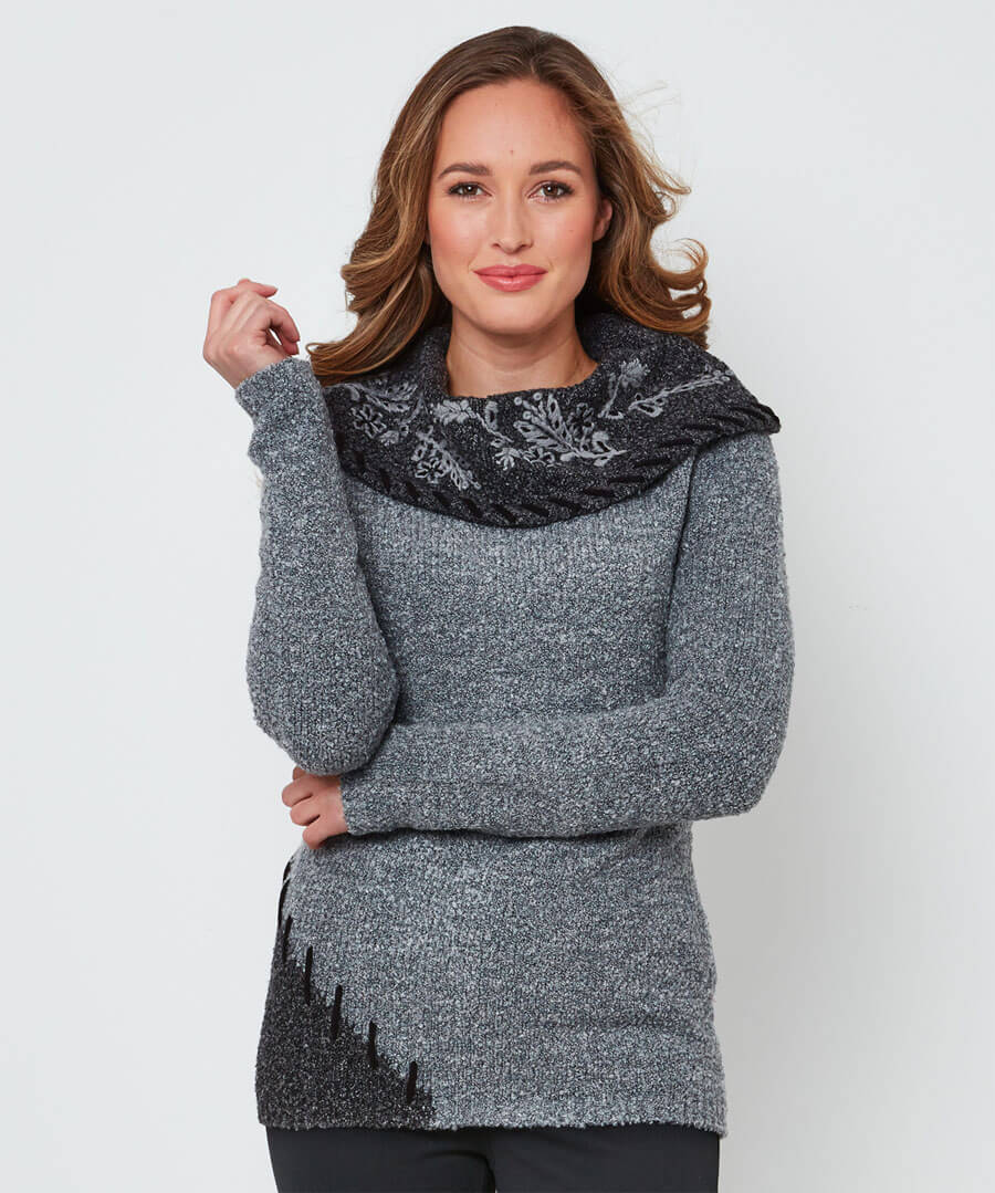 Boucle Collar Jumper Model Front