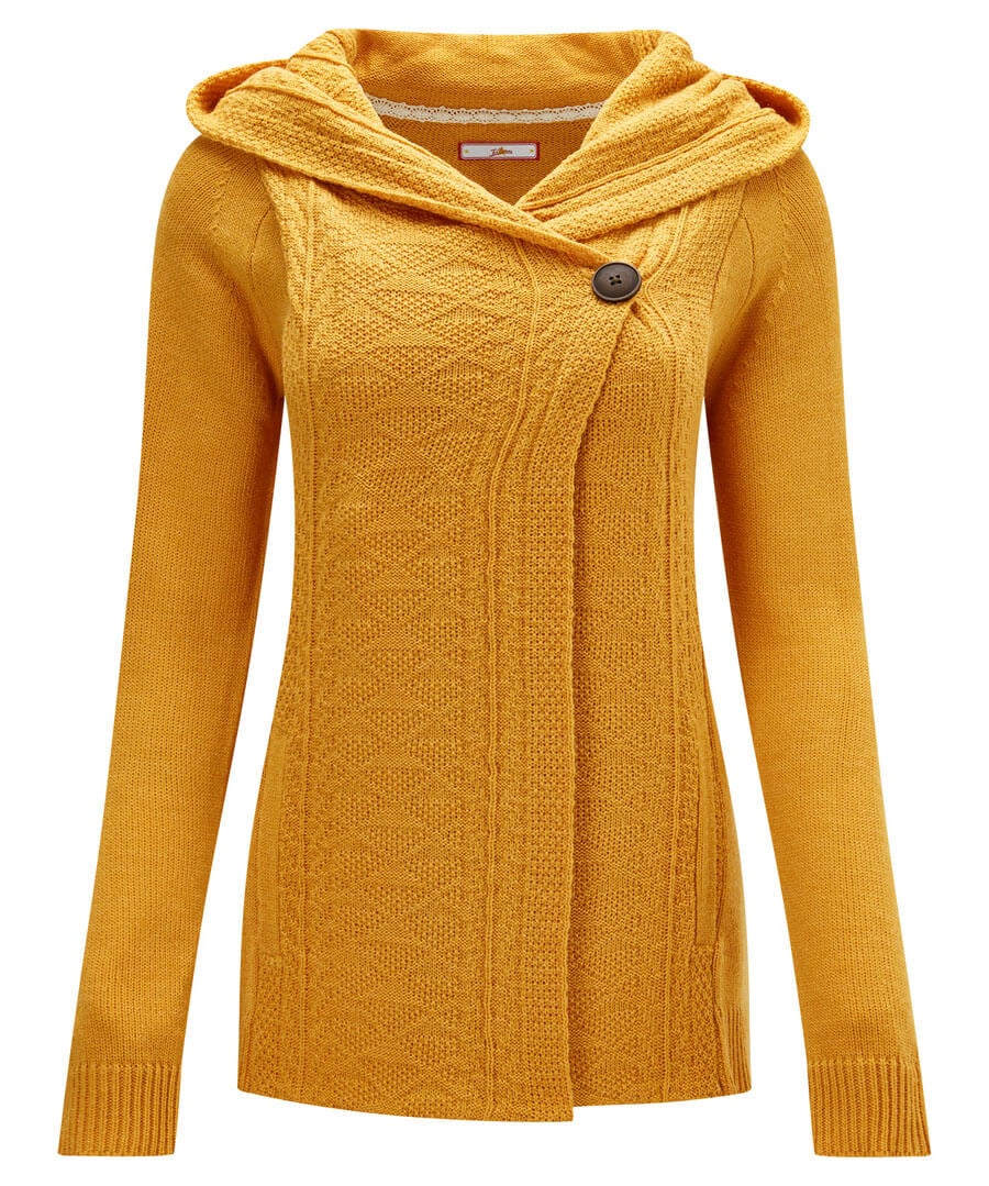 Cosy Hooded Knit Model Front