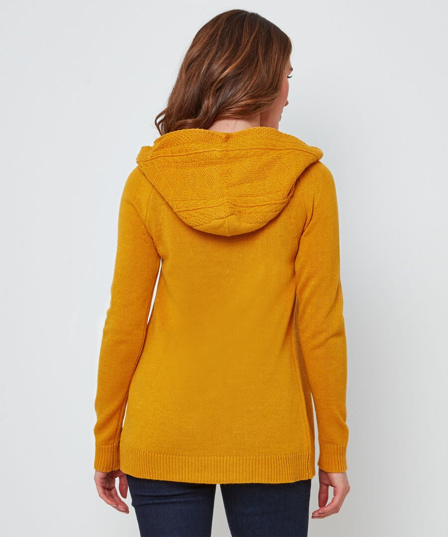 Cosy Hooded Knit Model Back