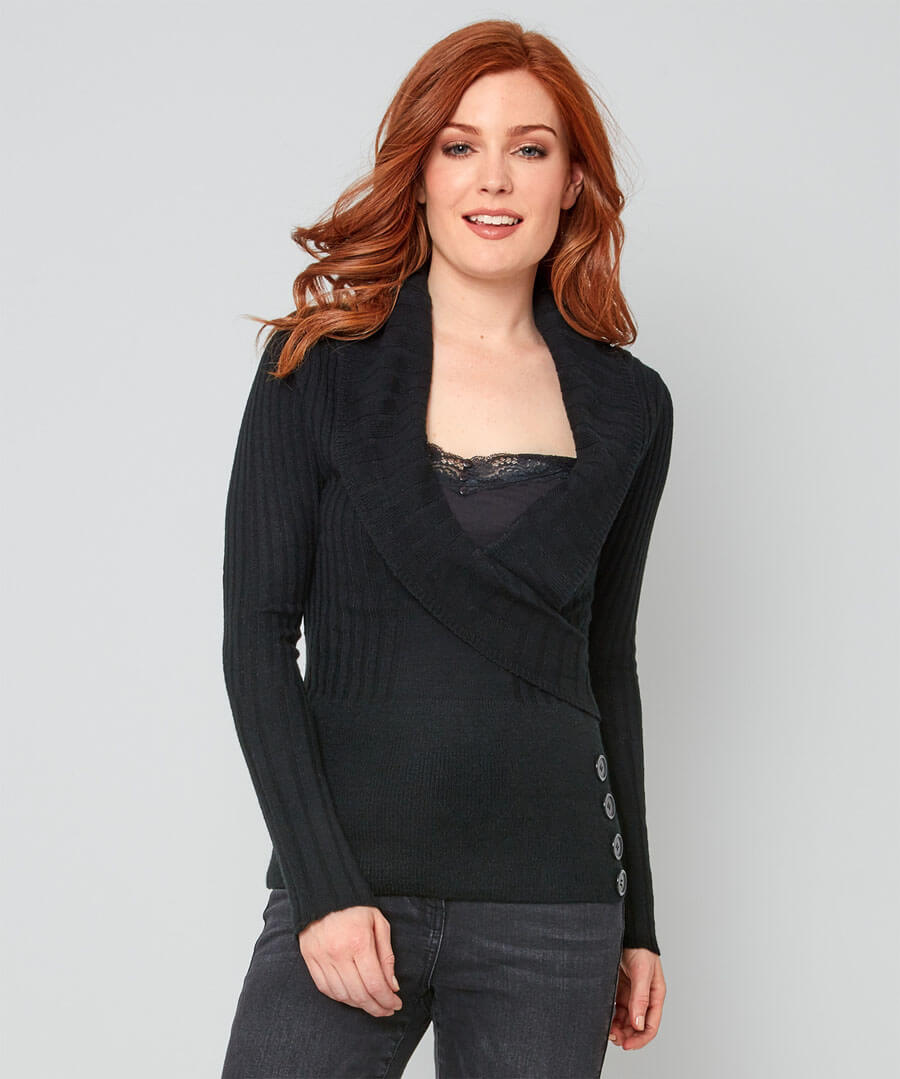 Ribbed Wrap Look Jumper Model Front