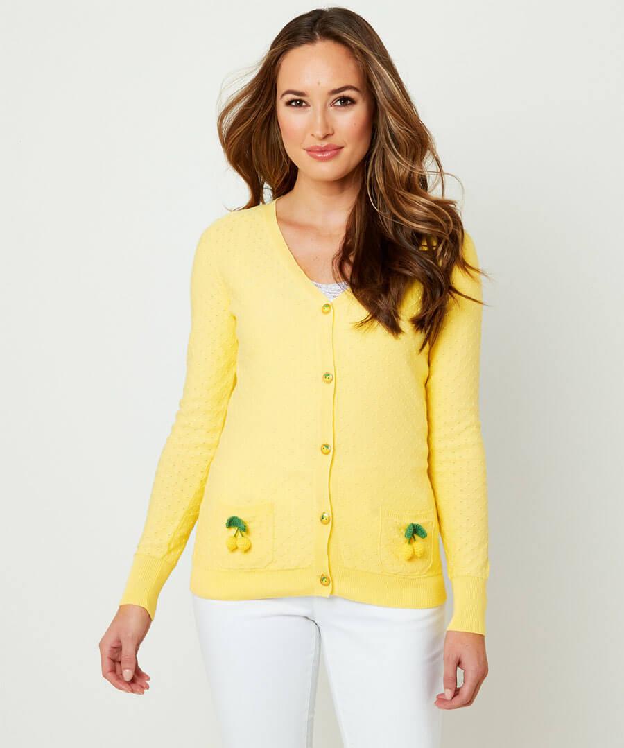 Lemon Cardigan Model Front