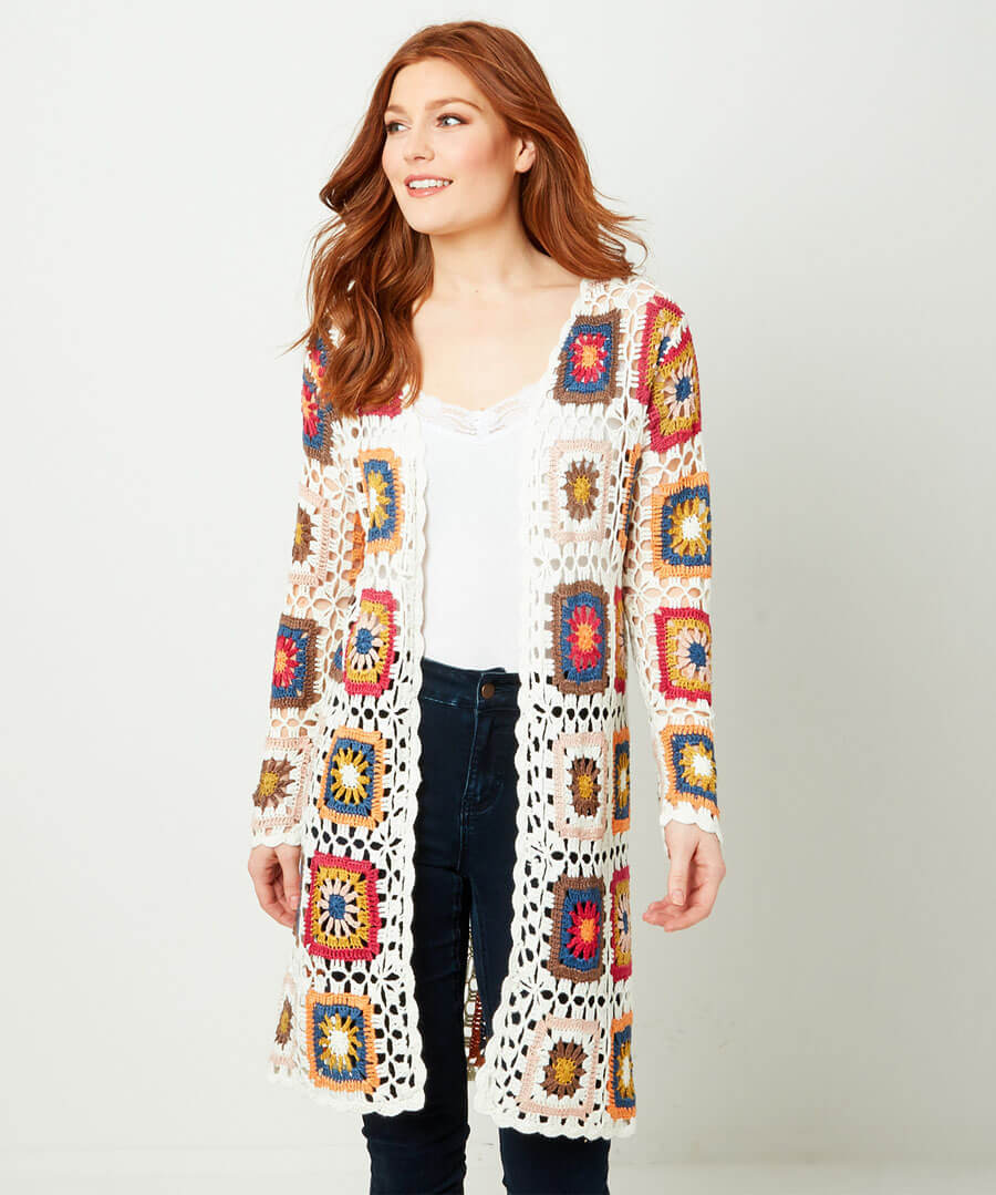 Quirky Crochet Longline Cardigan