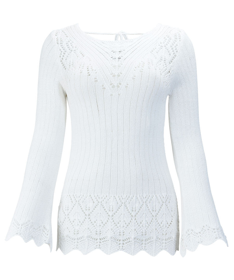 Pointelle Knit Model Front