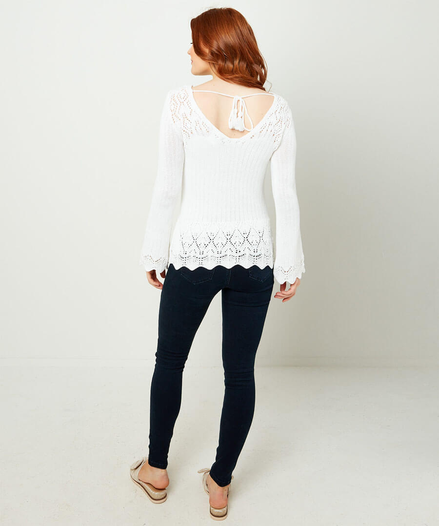 Pointelle Knit Model Back